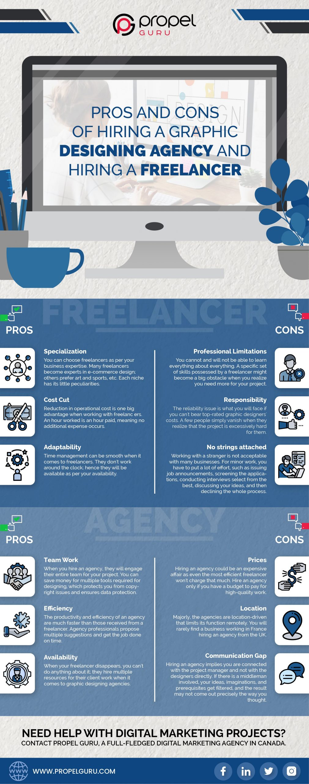 Pros & Cons Of Hiring A Graphic Designing Agency And Hiring A Freelancer- infographics